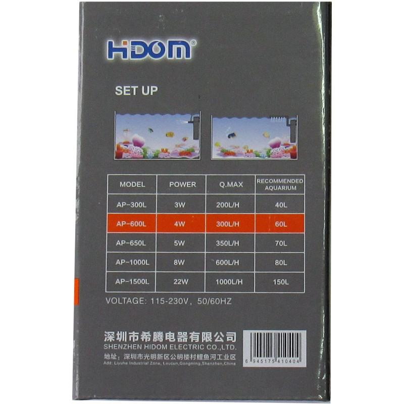 Внутренний фильтр Hidom AP-600L 4W 60L