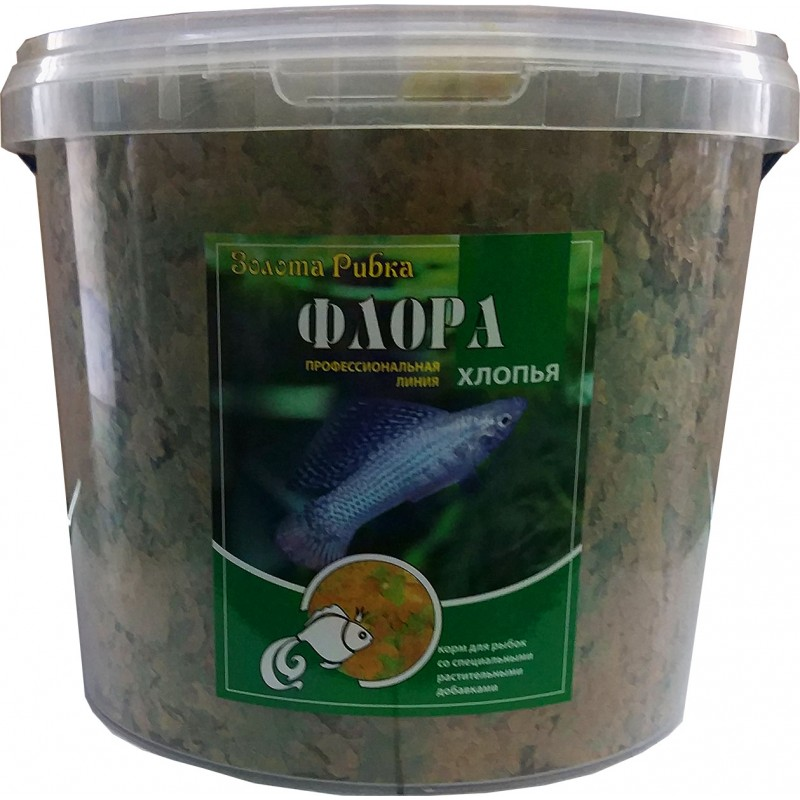 Корм для рыб Флора (хлопья) ведро 5 л 1 кг