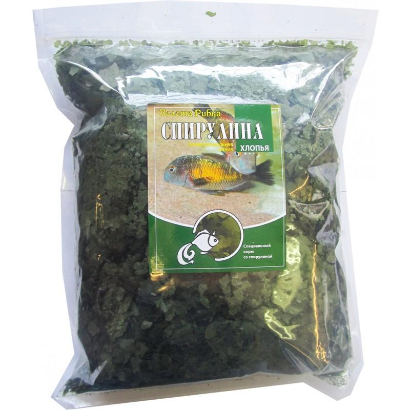 Корм для рыб Спирулина (хлопья) пакет 1 кг